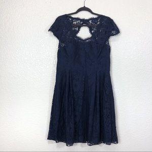 Weddington Way Lace Short Sleeve Navy Dress